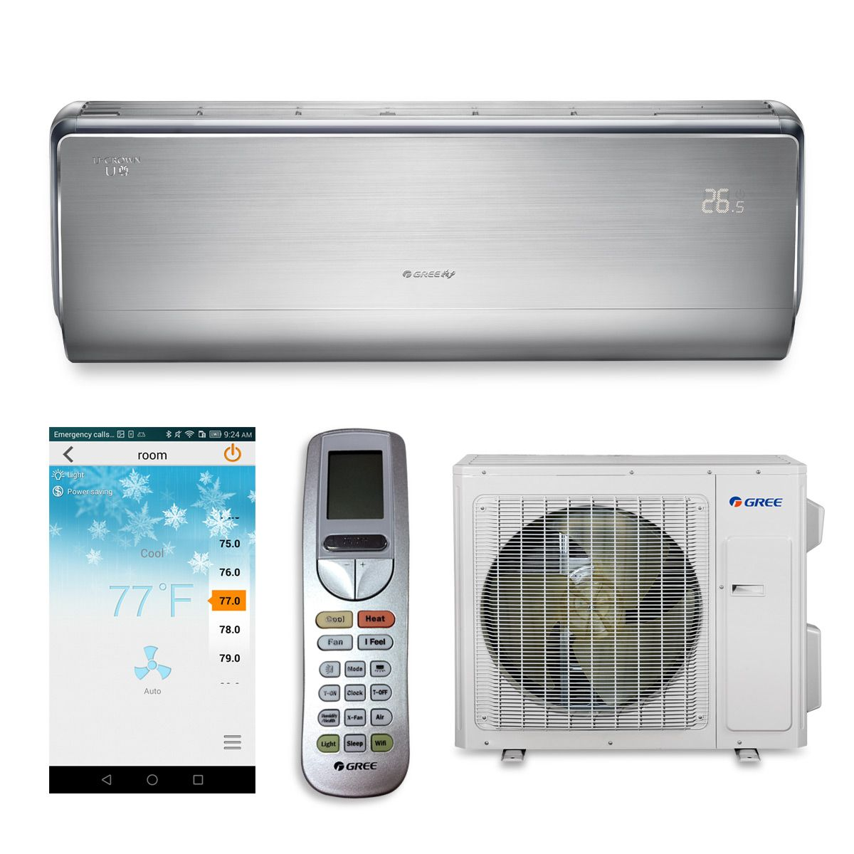 #2687A5 12000 BTU GREE SEER 23 CROWN12HP230V1B Ductless Split  Most Effective 6565 Split Ac Heat Pump pictures with 1200x1200 px on helpvideos.info - Air Conditioners, Air Coolers and more