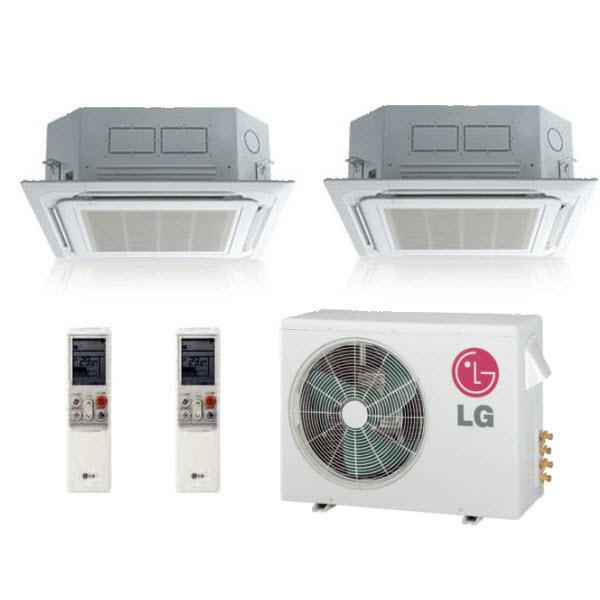 Lg Lmu18chv Lmcn125hv Two Dual Zone Ceiling Cassette Mini Split Air Conditioner System